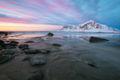 2017, beach, beautiful, coast, europe, evening, flakstadøy, ice, lake, landscape, lofoten, majestic, mountain, mountain range, norway, peak, scandinavia, scenic, seascape, skagsanden beach, snow, snow