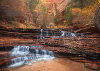 america,arch angel,arch angel falls,archangel,autumn,cascades,colors,fall,foliage,horizontal,north america,southwest,united states,us,usa,utah,zion national park
