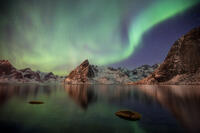 2017, beach, beautiful, coast, europe, hamnoy, ice, lake, landscape, lofoten, long exposure, majestic, moskenesøy, mountain, mountain range, night, northern lights, norway, peak, scandinavia, scenic,