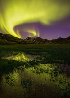 central,europe,iceland,landmannalaugar,mountain,northern lights,volcano