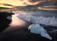 beach,black,breidamerkursandur,europe,ice,iceberg,iceland,long exposure,morning,ocean,sand,southern,sunrise,water body