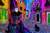 burano, burano island, carnival, celebration, colorful, composite, costume, europe, horizontal, italy, mask, party, venice