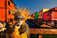 burano, burano island, canal, carnival, celebration, colorful, costume, europe, horizontal, italy, mask, party, venice, yellow