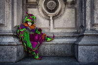carnival, celebration, colorful, costume, europe, green, horizontal, italy, mask, party, san gorgio, sitting, venice