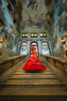 carnival, celebration, colorful, costume, europe, italy, mask, myriam, myriam melhem, palace, party, red, staircase, stairs, stairway, stairwell, venice, vertical