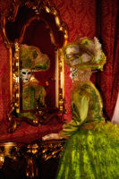 bed, bedroom, building, carnival, celebration, colorful, costume, europe, green, hotel, hotel room, household, italy, mask, mirror, party, venice, vertical
