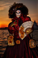 carnival, celebration, colorful, costume, europe, italy, mask, party, san gorgio, sunset, venice, vertical