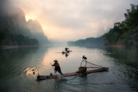 2017, chinese, clouds, cormorant, bird, fisherman, fishing, foggy, karst mountains, li river, model location, morning, river, silhouette, sunrise, yangshuo