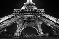 black & white,black and white,city scape,cityscape,eiffel tower,europe,france,horizontal,night,paris,black & white