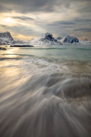 2017, afternoon, beach, beautiful, coast, europe, evening, haukland beach, ice, lake, landscape, lofoten, majestic, mountain, mountain range, norway, peak, scandinavia, scenic, seascape, snow, snowy,