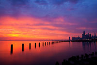 america,beautiful,chicago,city scape,cityscape,horizontal,il,illinois,lake michigan,midwest,north america,red,sunrise,united states,us,usa