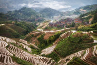 SKY,asia,china,cloud,clouds,cloudy,da zhai,da zhai terrace fields,dazhai,hill,landscape,longji,longji rice terraces,longsheng,mist,misty,morning,mountain,music from paradise,planting season,rice terra