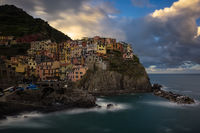 2016,May,Spring,blue hour,cinque terre,europe,horizontal,italy,landscape,liguria,long exposure,manarola,morning,sunrise,twilight