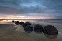 2016,New Zealand,SKY,april,autumn,beach,clouds,evening,fall,koekohe beach,long exposure,moeraki,moeraki boulders,south island,southern,sunset
