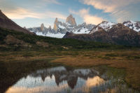 Spring, andes mountains, argentina, beautiful, evening, landscape, los glaciares national park, marsh, mount fitz roy, mountain, mountain range, patagonia, peak, pond, reflection, snow, south america,
