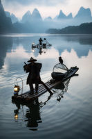 2017, chinese, clouds, cormorant, bird, fisherman, fishing, foggy, karst mountains, li river, model location, morning, river, silhouette, sunrise, yangshuo