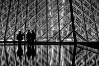 black & white,black and white,building,city scape,cityscape,entrance,europe,france,horizontal,louvre,night,paris,pyramid,structure parts,black & whi