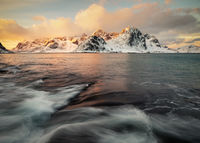 2017, beach, beautiful, coast, europe, ice, lake, landscape, lofoten, majestic, morning, mountain, mountain range, norway, peak, scandinavia, scenic, seascape, snow, snowy, sunrise, vareid, vestvågøy