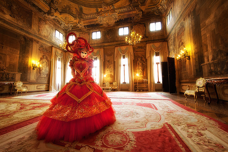 carnival, celebration, colorful, costume, europe, horizontal, italy, mask, myriam, myriam melhem, palace, party, red, venice