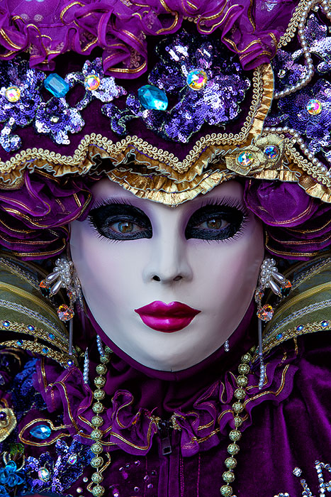 burano, burano island, carnival, celebration, close-up, colorful, costume, europe, italy, macro, mask, party, portrait, purple, venice, vertical