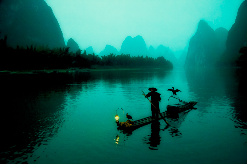asia,china,chinese,cormorant,fish,fisherman,guilin,horizontal,household,lamp,lantern,li river,morning,river,yellow cloth shoal