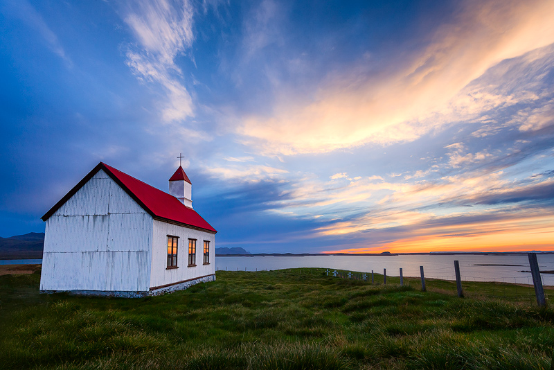 building,church,europe,fifty-four,highway 54,horizontal,hwy 54,iceland,north america,peninsula,red,route 54,seashore,shore,snæfellsnes,sunset,united states,water body,wes