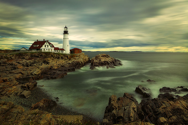 america,building,east,eastern,head light,horizontal,lighthouse,long exposure,maine,new england,north america,portland,portland headlight,united states,us,usa,water,water shot