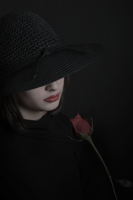 black,female,girl,lady,lone,loneliness,lonely,lost love,red,rose,sad,studio,vertical