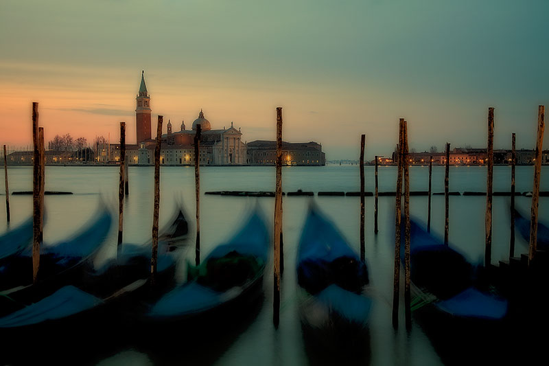 boat, europe, gondola, horizontal, italy, pier, san marco, sunrise, venice