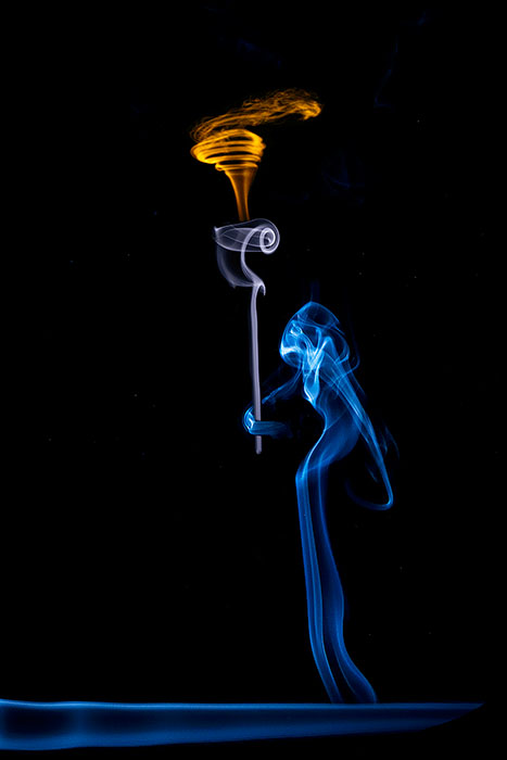 blue,composite,ghost,hooded,mysterious,scary,skeletal,skeleton,smoke,smoke picture,still,still life,torch,vertical