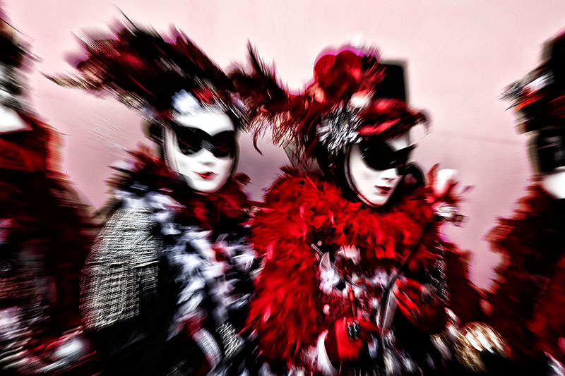 black, black & white, black and white, carnival, celebration, colorful, costume, europe, horizontal, italy, lens zoom, mask, party, red, venice, white, zoom, black & white