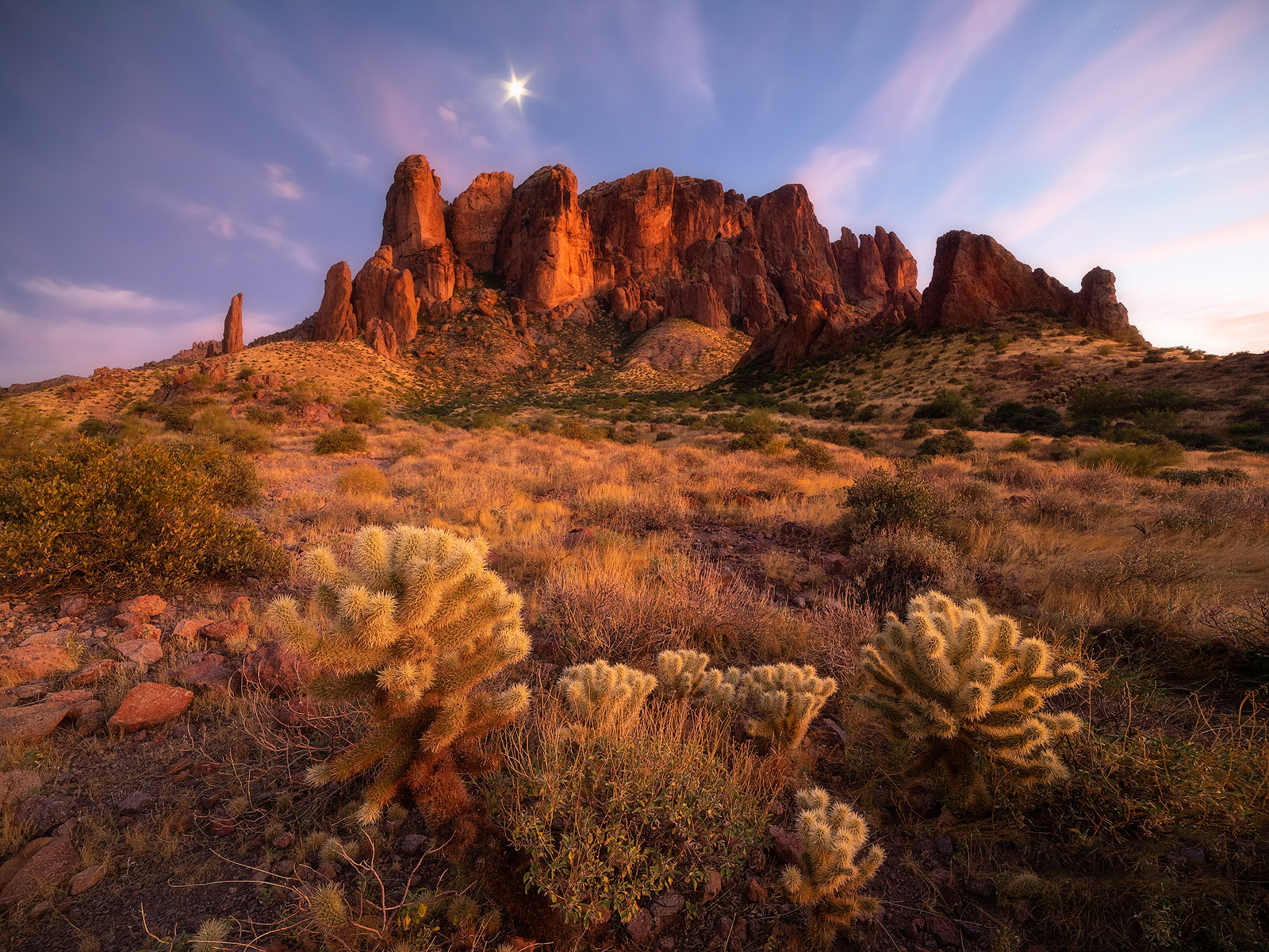 arizona, united states, landscape photography, twilight, superstition mountains, cholla cactus, photo