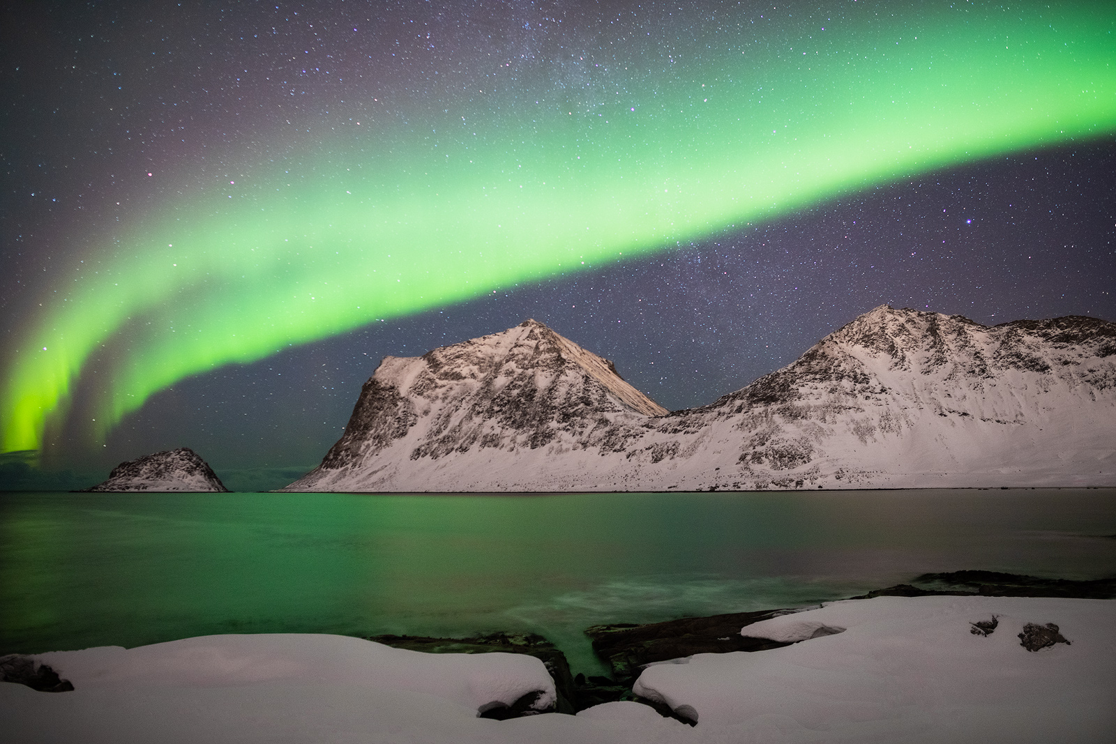 2019, aurora, borealis, europe, haukland beach, landscape, lofoten, night, northern lights, norway, scandinavia, snow, vestvågøy, winter, photo