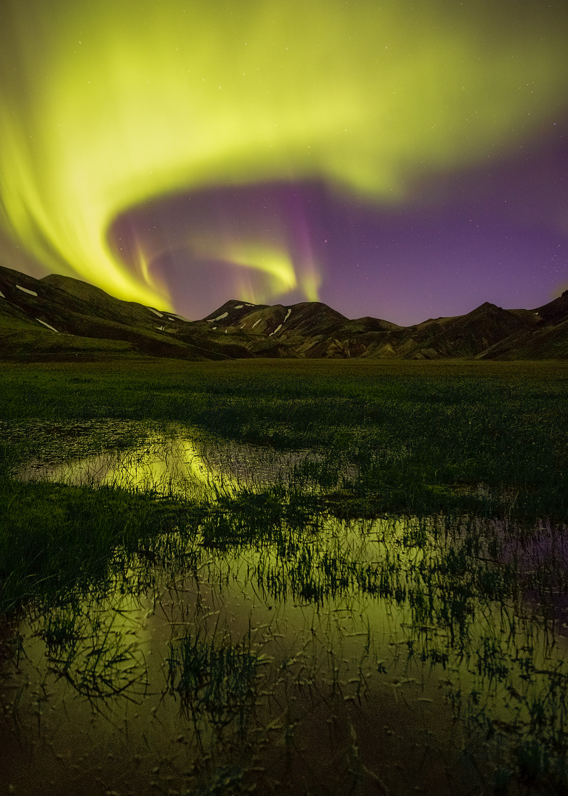Amazing Northern Lights dancing over a meadow in Landmannalaugar
