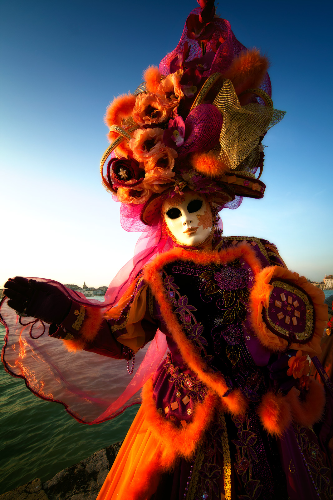 carnival, celebration, colorful, costume, europe, italy, mask, party, san gorgio, venice, vertical, photo