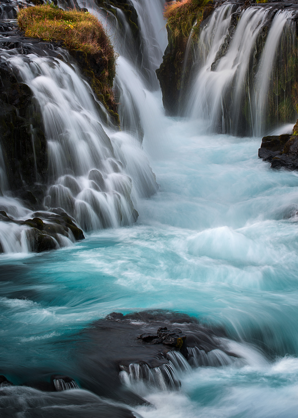 Close up of a section of Iceland's Bruarfoss.