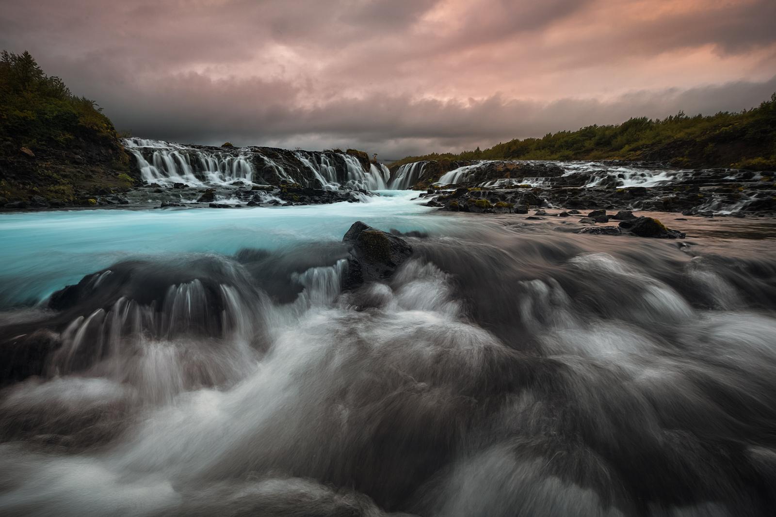 bruarfoss,europe,iceland,southern,sunset,water body,waterfall, photo