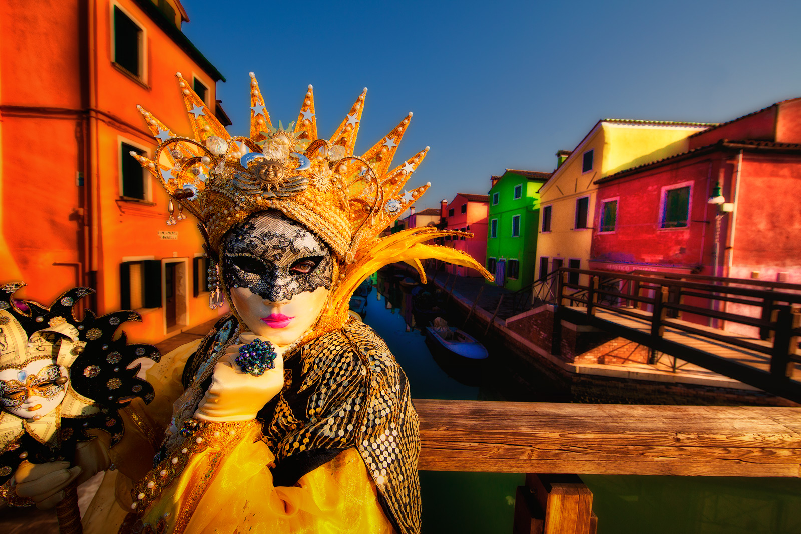 burano, burano island, canal, carnival, celebration, colorful, costume, europe, horizontal, italy, mask, party, venice, yellow, photo