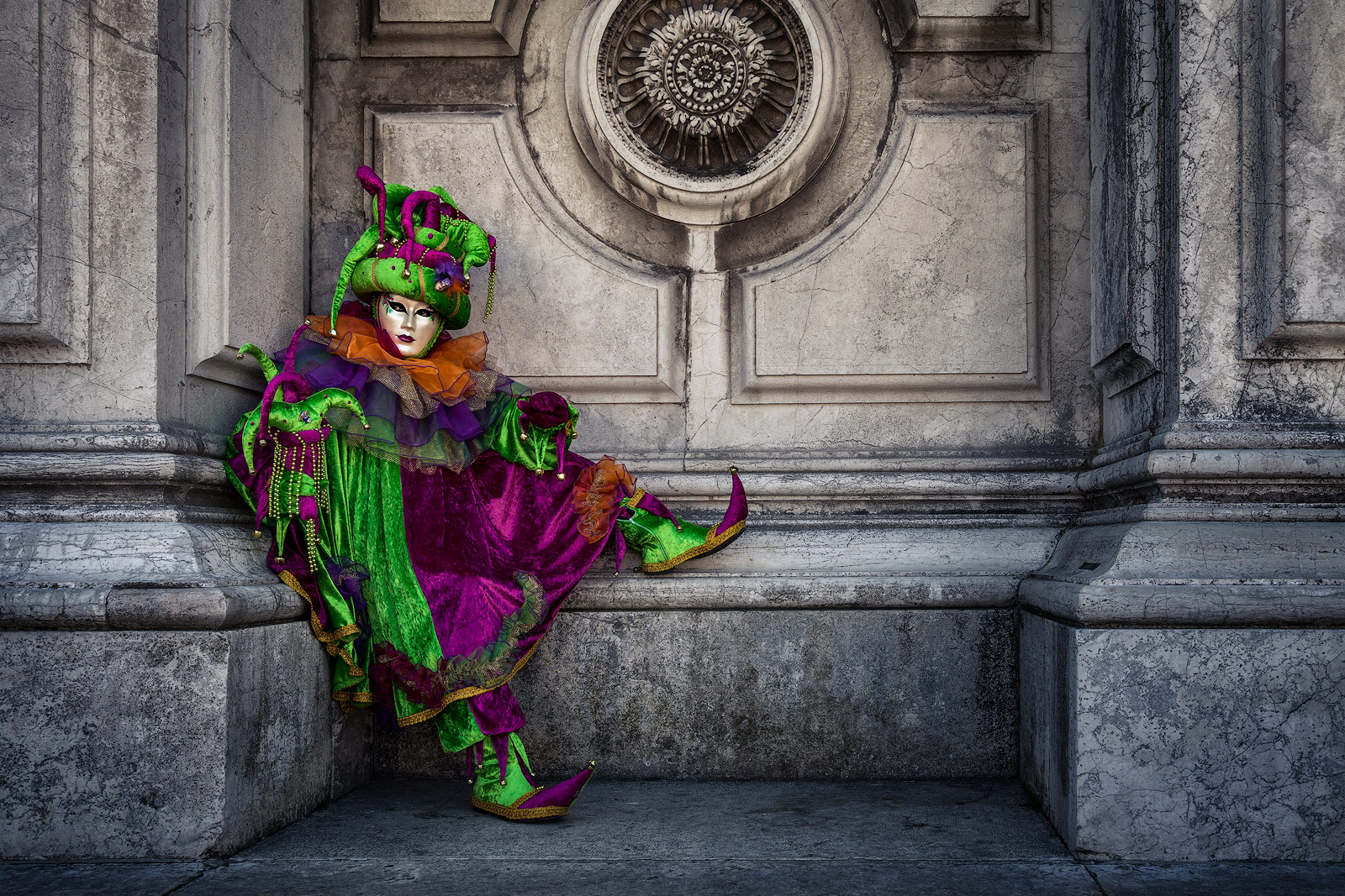 carnival, celebration, colorful, costume, europe, green, horizontal, italy, mask, party, san gorgio, sitting, venice, photo
