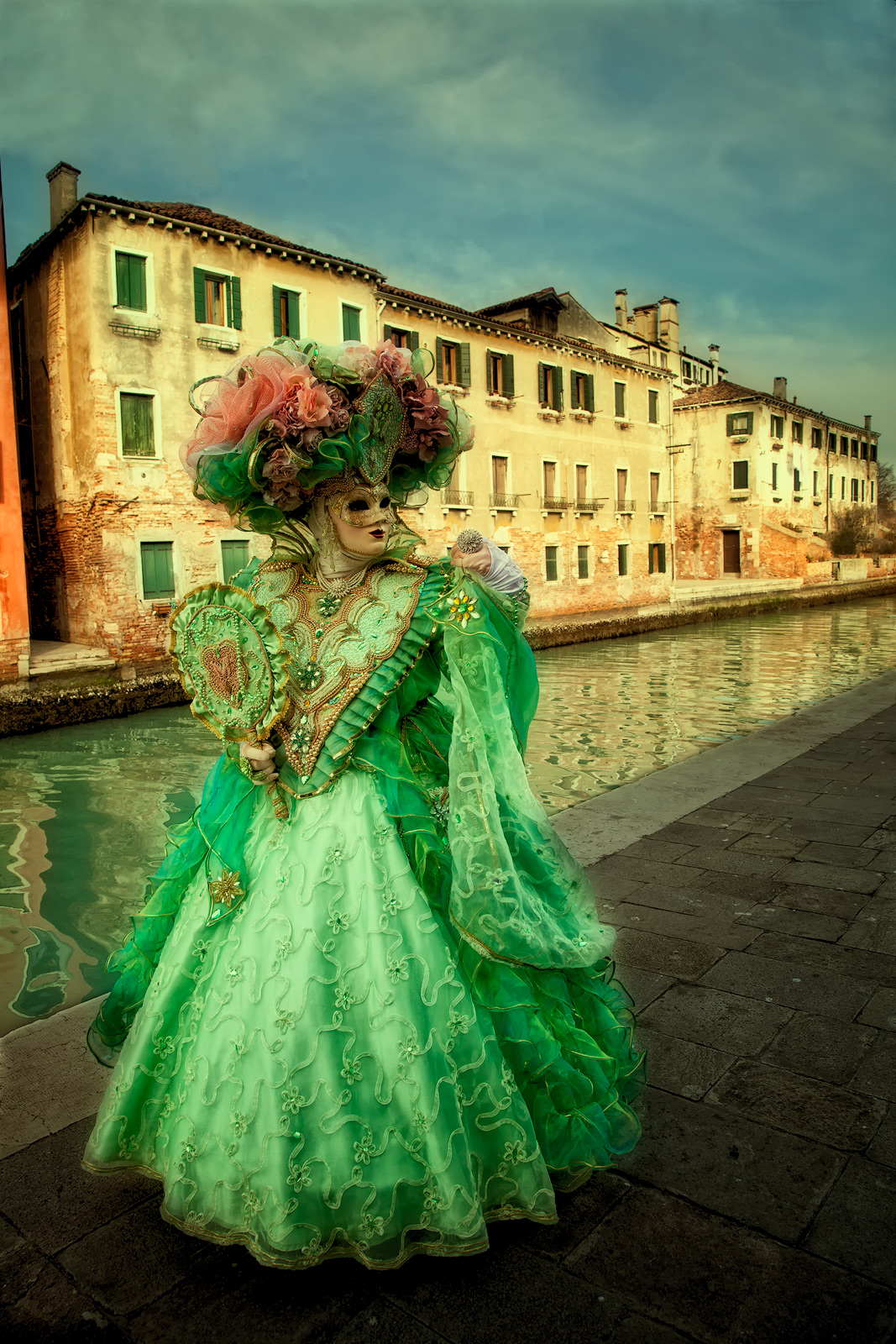 burano, burano island, canal, carnival, celebration, colorful, costume, europe, green, italy, mask, party, venice, vertical, photo