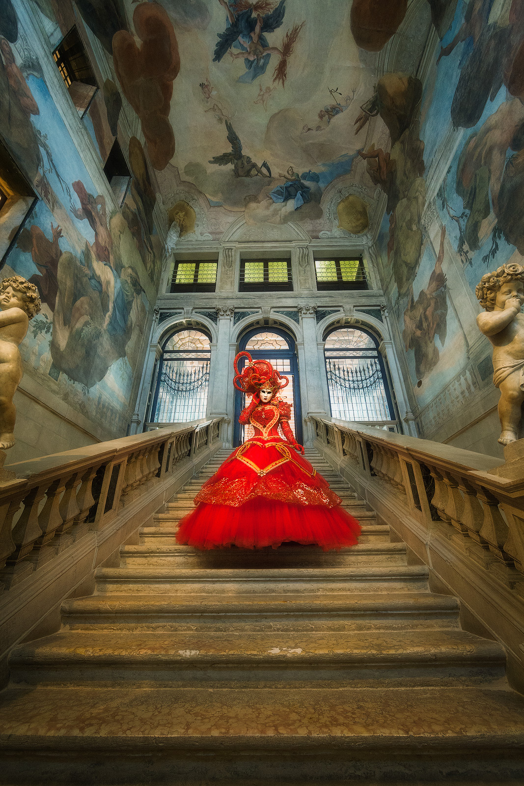carnival, celebration, colorful, costume, europe, italy, mask, myriam, myriam melhem, palace, party, red, staircase, stairs, stairway, stairwell, venice, vertical, photo