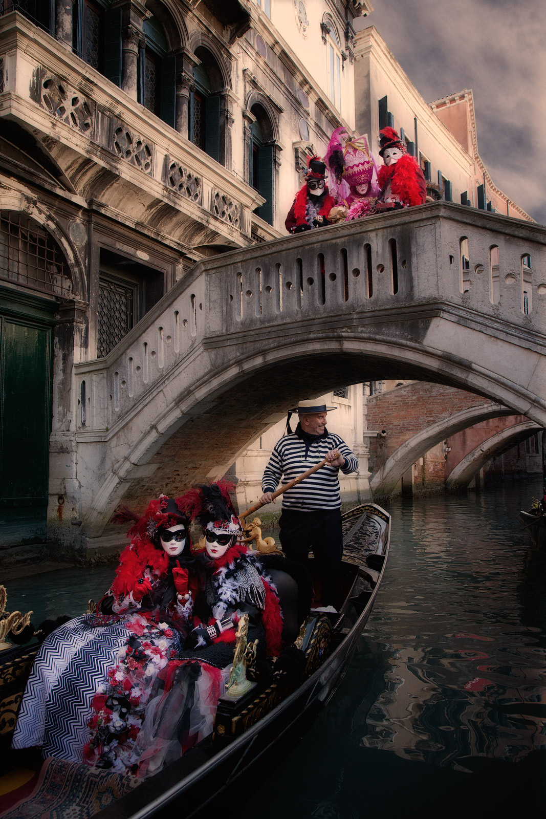 boat, canal, carnival, celebration, colorful, costume, europe, gondola, italy, mask, party, venice, vertical, photo