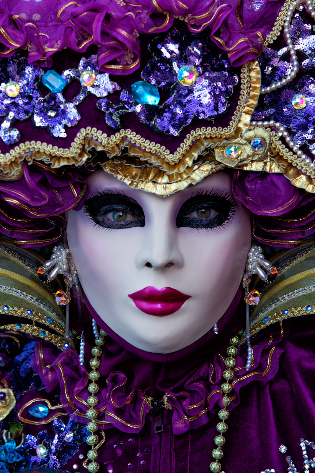 burano, burano island, carnival, celebration, close-up, colorful, costume, europe, italy, macro, mask, party, portrait, purple, venice, vertical, photo