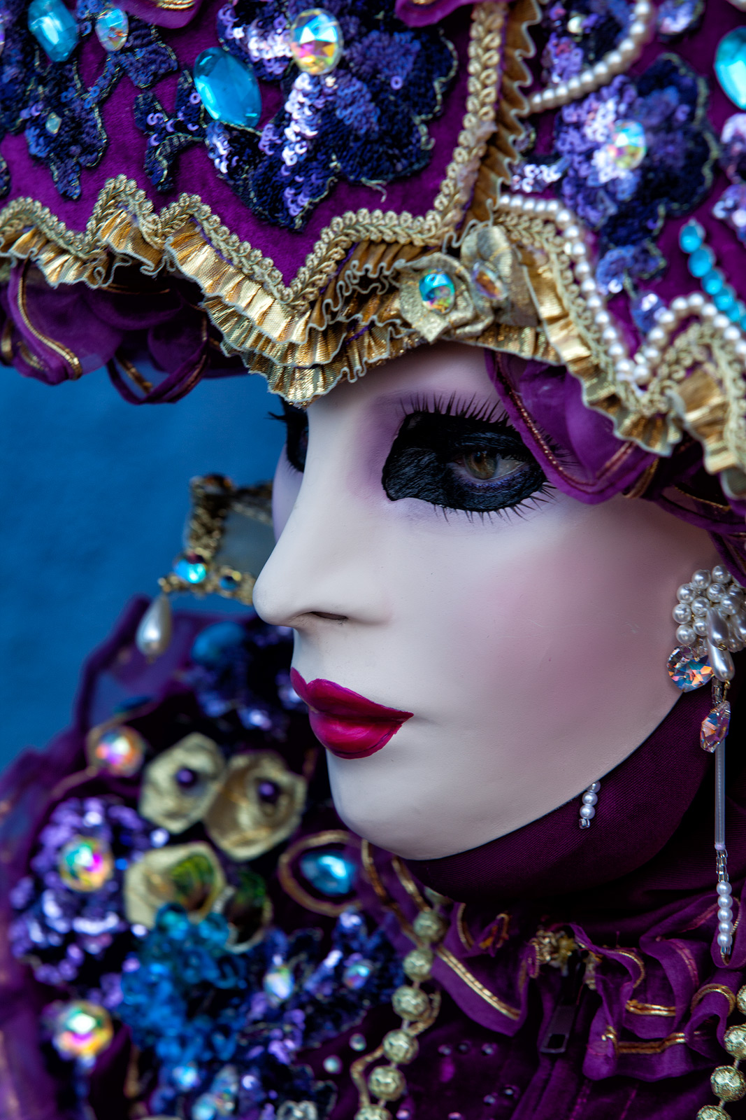 burano, burano island, carnival, celebration, close-up, colorful, costume, europe, italy, macro, mask, party, portrait, profile, purple, venice, vertical, photo