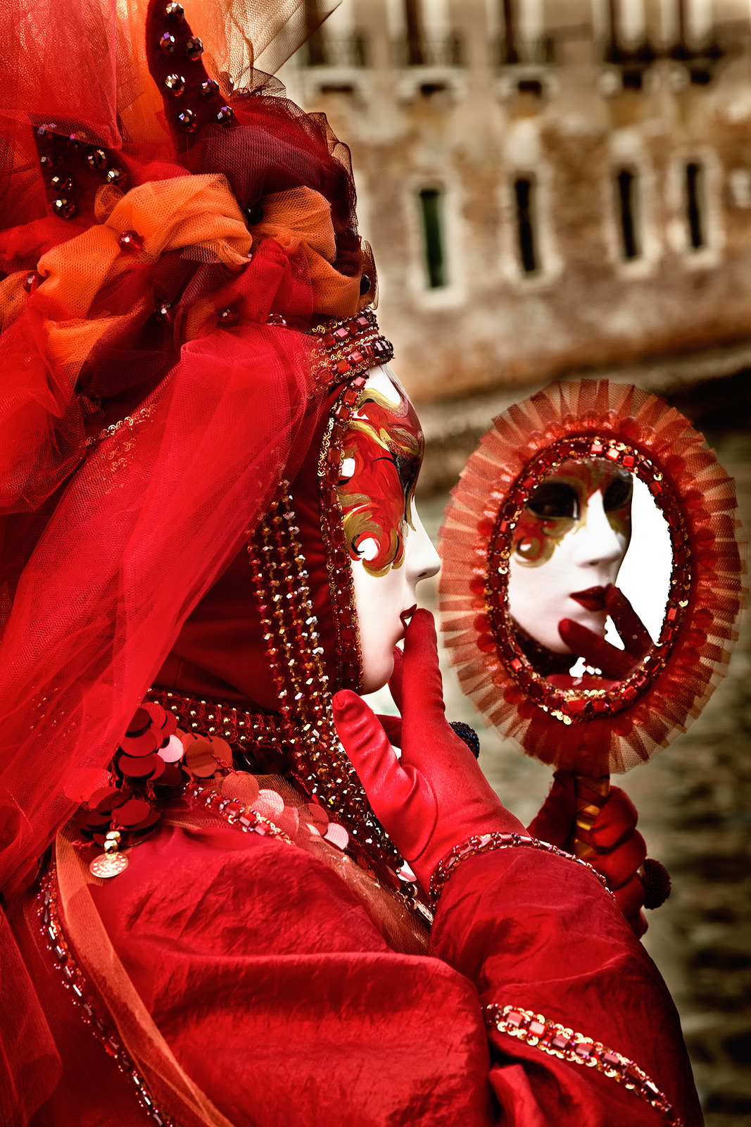 carnival, celebration, colorful, costume, europe, italy, mask, mirror, party, red, venice, vertical, photo