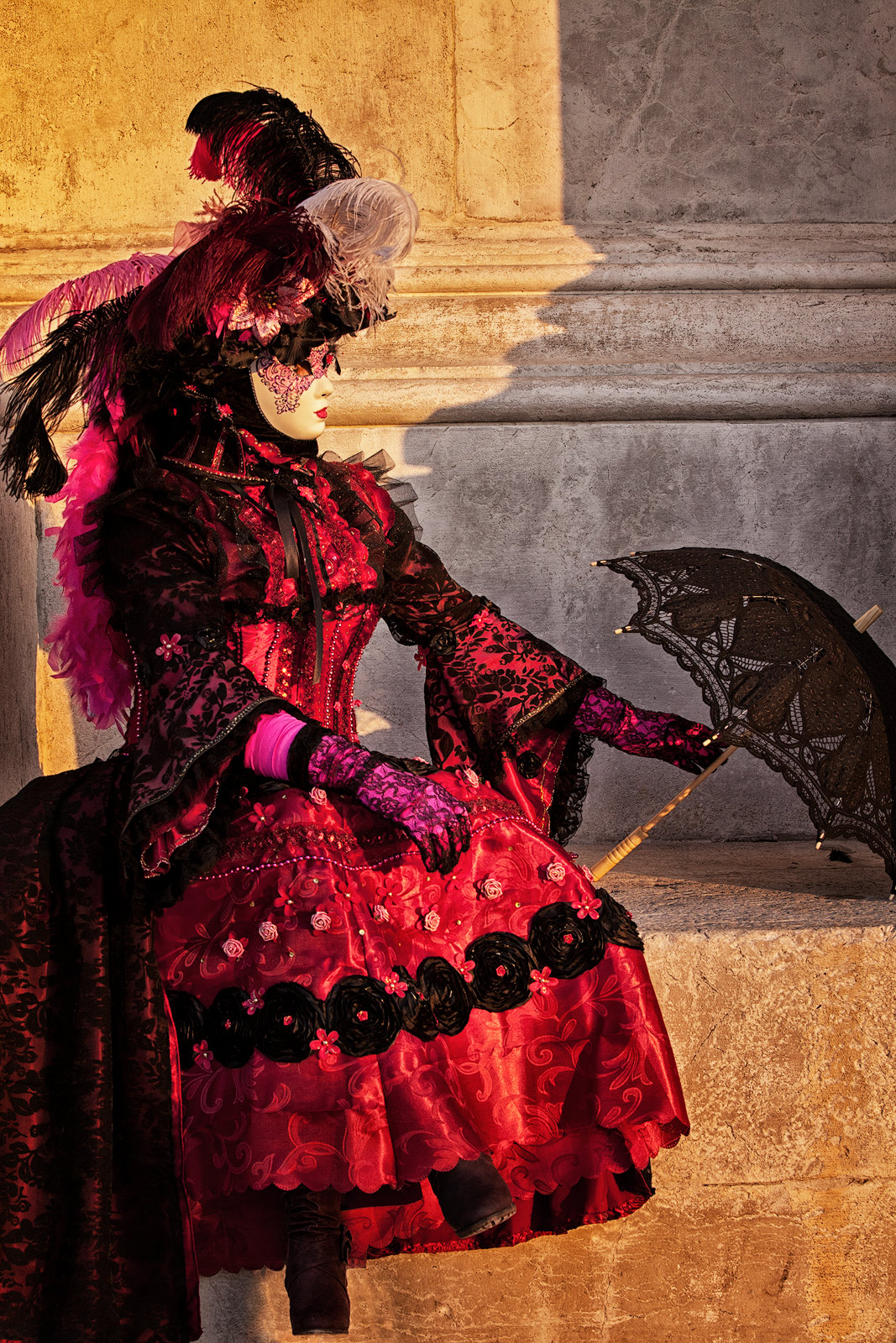 carnival, celebration, colorful, costume, europe, italy, mask, party, red, san gorgio, umbrella, venice, vertical, photo