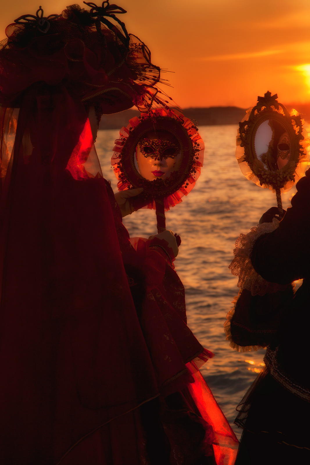 carnival, celebration, colorful, costume, europe, italy, mask, mirror, party, san gorgio, sunset, venice, vertical, photo