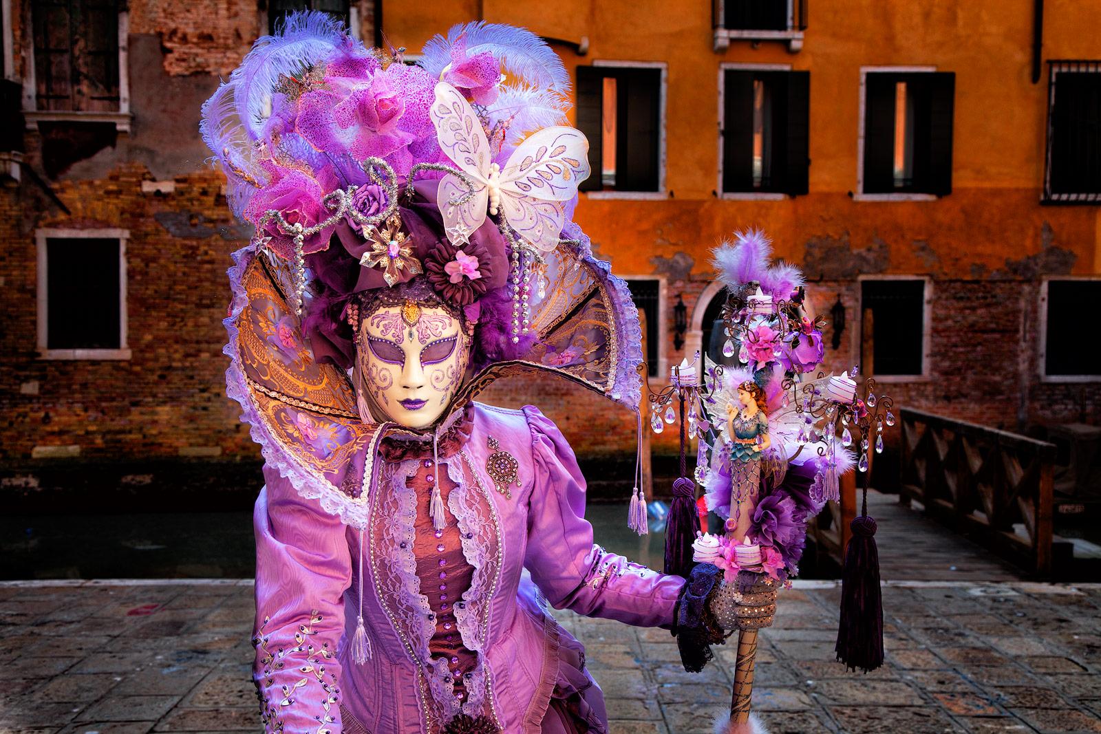 carnival, celebration, colorful, costume, europe, horizontal, italy, mask, party, purple, venice, photo