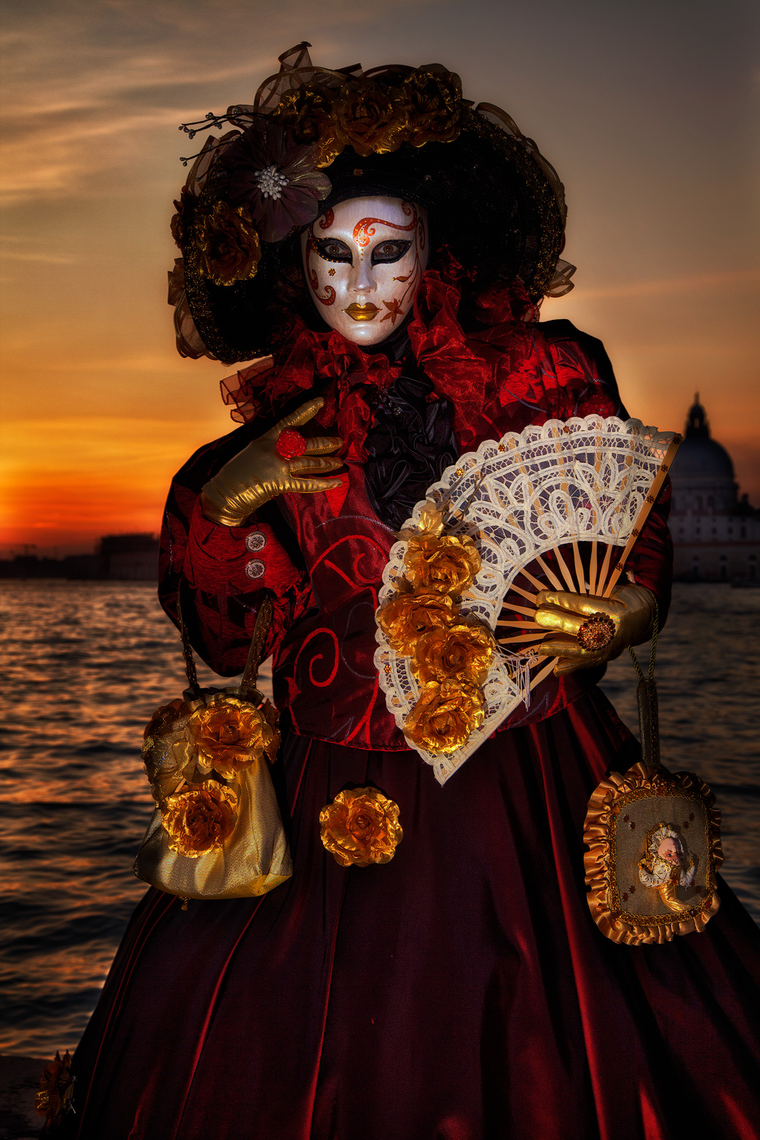 carnival, celebration, colorful, costume, europe, italy, mask, party, san gorgio, sunset, venice, vertical, photo