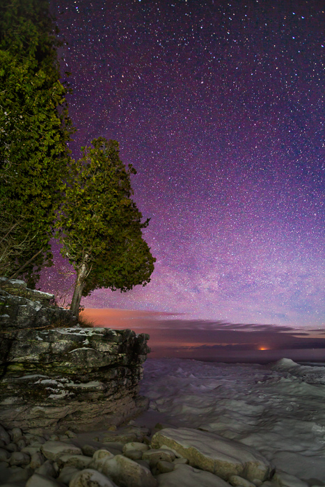 america,cave point,cave point county park,dawn,door county,ice,lake,lake michigan,light painting,midwest,north america,snow,twilight,united states,us,usa,white fish dunes,whitefish dunes,whitefish dun, photo